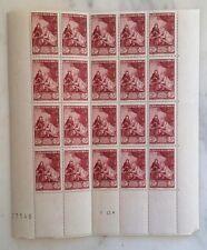France n°753 1946 2 f.(+3f.) planche cachet de cire neuf rouge 41