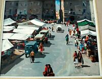 JOSEP VILA CANELLAS SIGNED ORIGINAL OIL PAINTING OF MARKET PLACE