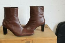BROWN SOFT LEATHER HIGH HEEL ANKLE BOOTS SIZE 6 BY GEORGE ULTRA COMFORT