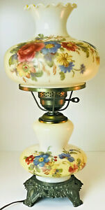 """Vintage Accurate Casting GWTW 20""""  Victorian Hurricane Table Lamp Yellow"""