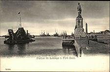 Port Said Ägypten Egypte ~1900 Statue de Lesseps Hafen Schiffe Ships ungelaufen