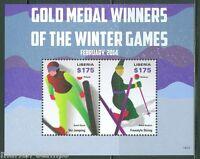 LIBERIA  2014 GOLD MEDAL WINNERS SOCHI OLYMPIC GAMES S/S  MINT NH