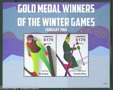 LIBERIA  2014 GOLD MEDAL WINNERS SOCHI OLYMPIC GAMES S/S  MINT NH