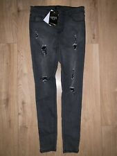 BoohooMan Spray On Skinny Jeans With All Over Rips - Charcoal 32R