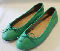 COUNTRY ROAD ~ Emerald Green Pebble Leather Ballet Flats Shoes EU 42 AU 11