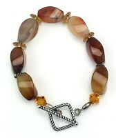 "Vintage Carnelian Gemstone Bracelet Square Toggle Clasp 8"""
