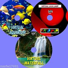 VIRTUAL WATERFALL, AQUARIUM & LAVA LAMP 3 SOOTHING DVD SET FOR PLASMA/LEDTV NEW