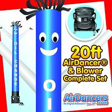 Blue & White Oil Change AirDancer® & Blower 20ft Dancing Tube Man Sky Dancer Set