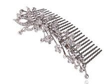 Elegant Women Silver Flower Crystal Rhinestone Bridal Wedding Hair Comb Hairclip
