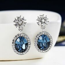 Thick 18K White Gold GF MadeWith SWAROVSKI Crystal Oval Flower Sapphire Earrings