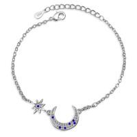 Solid 925 Sterling Silver Blue Zircon Moon Star Couple Bracelet Jewelry Gift