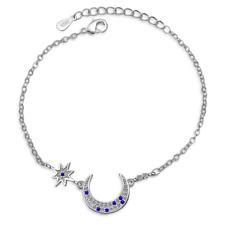 Women Charm Elegant 925 Sterling Silver Sapphire Zircon Moon Bracelet Jewelry