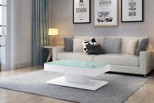 White Coffee Table High Gloss with Painting Tempered Glass with 2 Drawers
