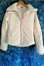 ROXY Winter Puffer Jacket - WHITE with Coral Zipper- Snowboard/Ski - SIZE XS