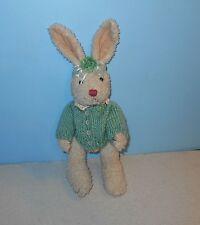 "10"" Jointed Stuffed Plush Bunny Rabbit in Green Knitt Sweater & Flower Bow"