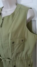 Christopher Banks Green Cotton sleeveless Blouse Top sz L large  pockets NWT