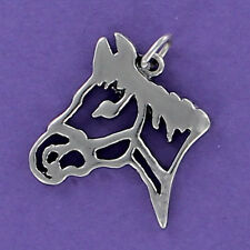Horse Head Outline Charm Sterling Silver 925 for Bracelet Western Horse Rodeo