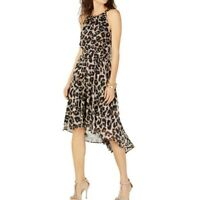 INC NEW Women's Metallic Cheetah-print High-low A-Line Dress TEDO