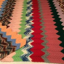 "COLORFUL HAND CROCHETED AFGHAN!  SCRAP YARN ZIGZAG PATTERN! 44"" X 40"" NICE!"