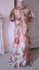LINDA LEIGH 1970s Hostess maxi vintage lace cream blue green floral dress 12 14