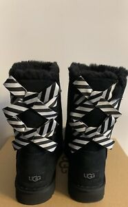 New - Women's Ugg Bailey Bow ll Diagonal Stripes Black Boots Size 10