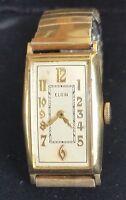 VTG ELGIN 1935 10K Rolled Gold Wristwatch Watch Wadsworth Case Pointed Side Runs