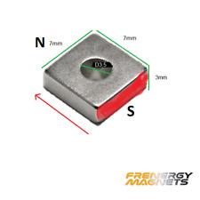 25x Micro 7x7x3mm Hole 3.5mm N35 Block Ring Magnet | Neodymium Rare Earth  Art