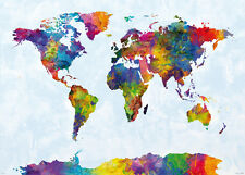 MAP OF THE WORLD - GIANT XXL WATERCOLOR POSTER / PRINT (BY MICHAEL TOMPSETT)