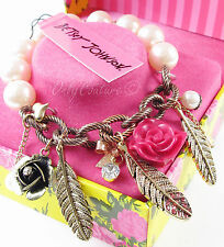 BETSEY JOHNSON Pink Rose Flower Feather Charm Half Stretch Bracelet w/Gift Box