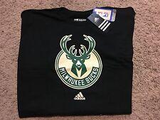 "NWT NBA Milwaukee Bucks Adidas ""The Go-To"" Tee Mens T-Shirt Black 2XL MSRP $22"