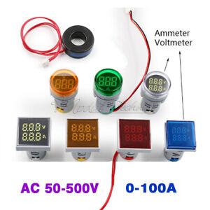 22MM AC 50-500V 0-100A 220V Digital Dual Display Voltmeter Ammeter Voltage Meter