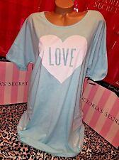 Victorias Secret Cotton Sleepshirt Nightie Striped Teal Heart XL