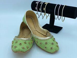 Punjabi Jutti Indian Khussa US Sz:7 Flat Shoes Womens Shoes Mojari FREE SHIPPING