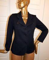 St John Caviar Black Wool Blend Peacoat Jacket sz 10 USA