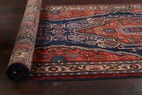 "Vintage Geometric Navy Blue 14 ft Runner Meshkin Hand-knotted Rug 13' 1"" x 3' 7"""