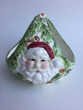 Wcl Ceramic Santa Basket with Holly Leaves Green and Red Christmas