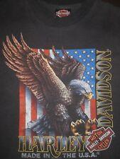 90s Vtg 3D Emblem HARLEY DAVIDSON LAS VEGAS Rare Eagle USA FLAG 50/50 Shirt Med