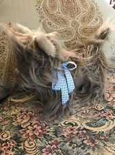 "WIZARD OF OZ - TOTO PLUSH DOG 9"" BY RUBIES- TURNER ENT. BLUE & WHITE BOW # B5"