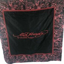 "Ed Hardy Pillow Sham Christian Audinger 36"" Graphic Embroidered Logo Black Red"