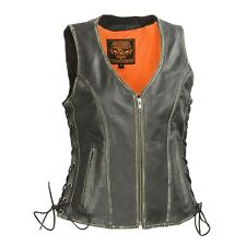 Milwaukee Leather Women's Distressed Grey Zipper Front- Gun Pockets Vest*MLL4517