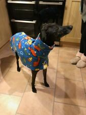 """dog Snood jumper fleece house coat whippet lurcher Dinosaur print 20"""" puppy"""