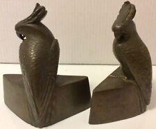 "Antique Arts Crafts Mission Bronze PARROT BOOKENDS, ""JB 287""  Jennings Bros RARE"