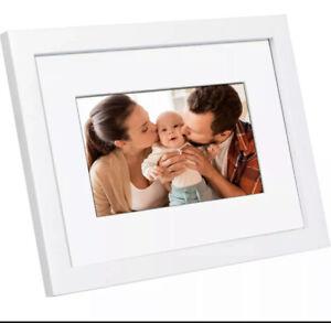 "Polaroid 7"" Hi-Res Digital Picture Photo Frame White Frame Mat Programmable"