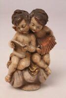 Engel Paar singend Instrument Buch goldene Flügel und Tuch Dekoration Figur