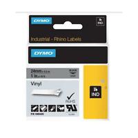DYMO Rhino Adhesive Vinyl Label Tape, 1-inch, 18-foot Cassette, Black on Gray