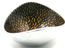 Vintage Nambe Enameled Bowl Aluminum Butterfly Curves Gold & Brown Design 5.5""