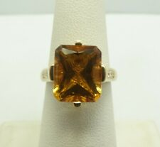 14K Yellow Gold 13x10mm Emerald Cut Citrine 10 Accent Diamond Ring Sz6.5 5 D9926