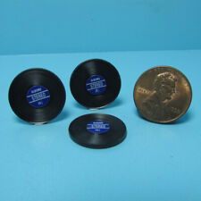Dollhouse Miniature Record Set with Blue Labels Set of 3 IM65801