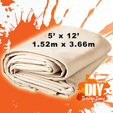 Uni-Pro Heavy Duty Canvas Drop Sheet Drop Cloth 5' x 12' Paint & Dust Protection