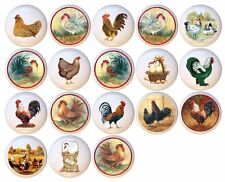 Set of 18 Chickens Roosters CERAMIC Drawer Pulls Dresser Drawer Cabinet Knobs